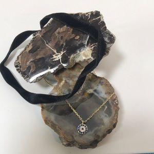"Jewelry - Black Velvet 12"" Chocker CZ Sterling Silver Charm"